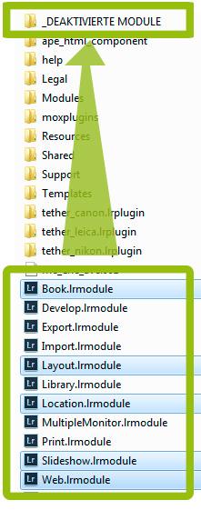 Lightroom Dateistruktur im Installationsverzeichnis