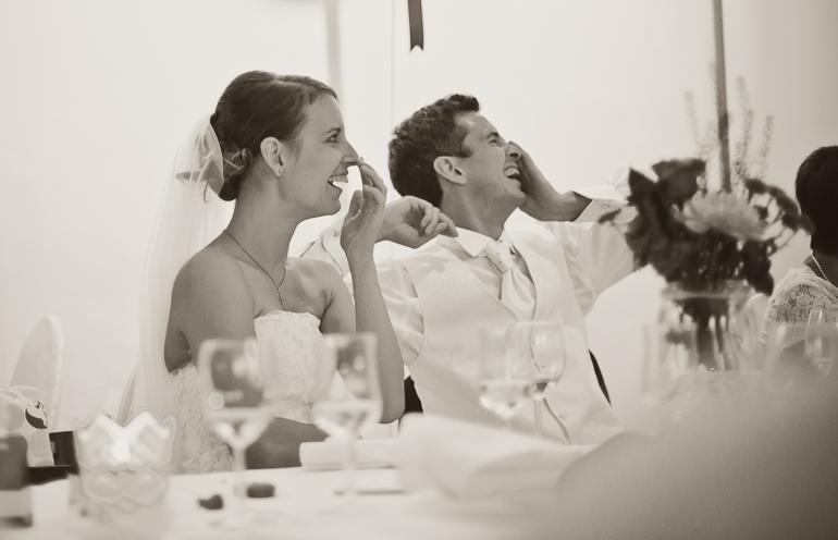 Das Brautpaar auf der Feier in der Luminanz Saarbrücken